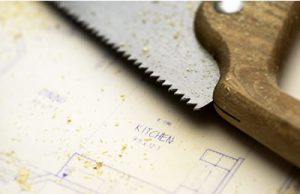 Photo of a saw and plans