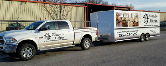 Photo of the Honey Do truck and mobile workshop.