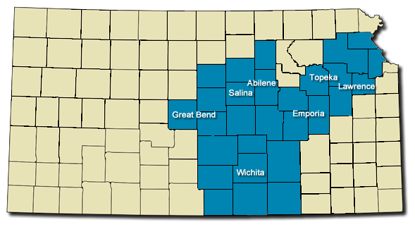 Map showing our Kansas services area by county.